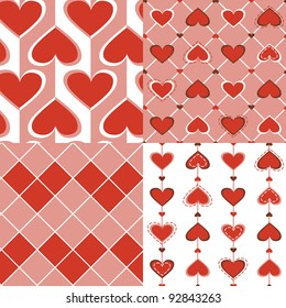 abstract pattern colorful hearts silhouette universal stock vector