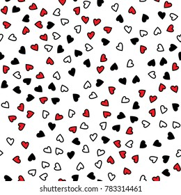 Seamless valentine`s day red, white and black heart pattern