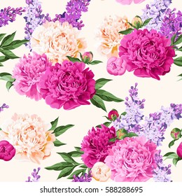 Seamless varicolored peonies and lilac