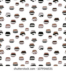 Seamless of Variety Muffins, Poppy seed, Chocolate Chip, Pumpkin Cream, Chocolate and Delicious Breakfast or Dessert Muffins. Pattern on white, black, pink, brown and neutral. Vector illustration.