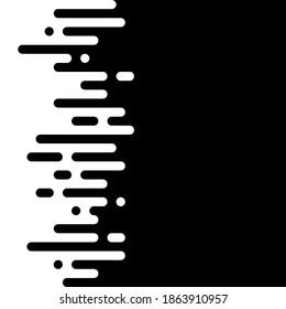 Nahtlose Vektorgrafik abstrakter horizontaler Übergang von zwei Farben. Runde Linien wurden gemischt. Schwarz-Weiß-Kontrast.
