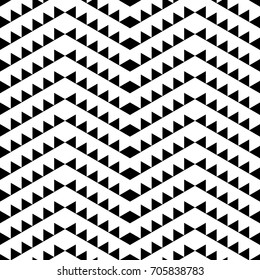 Seamless vector abstract monochrome geometric pattern. Chevron style texture in black and white. Zigzag lines made of triangles. Wrapping paper, scrapbook, interior, cloth, fabric, bed sheet.