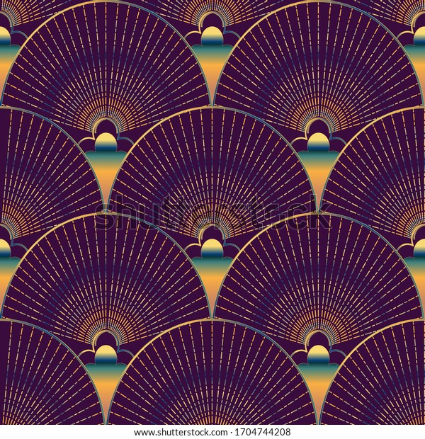 Seamless vector abstract pattern of colored shapes, fans, lines, chains and stripes on a violet plum purple color background. Design for fabric, wallpaper, scarves in art deco style.