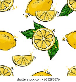 Seamless vector abstract pattern with lemons. Background for the design of wallpaper, fabric and other.