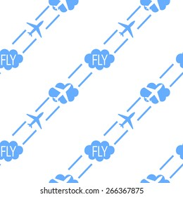 Seamless vector airplane fly air pattern background clouds
