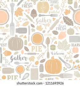 Seamless Vector Autumn Leaves & Pumpkin Apple Pie Baking Pattern in Warm Pastel Fall Colors. Great for backgrounds, stationery, home decor, textiles, fabrics, greeting cards, and paper crafting.