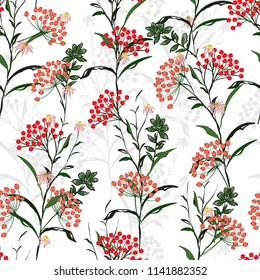 Seamless vector autumn pattern with red and orange berries and leaves. Fall colorful floral background.pattern for fashion,fabric and all prints on white background.