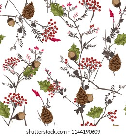 Seamless vector autumn pattern with red and orange berries,pine cone,nuts,flowers  and leaves. Fall colorful floral background.pattern for fashion,fabric and all prints on white background.