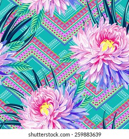 seamless vector aztec tribal print with exotic flowers. Neo-tribal trendy design with oriental chrysanthemum flowers and palm and ficus leaves.