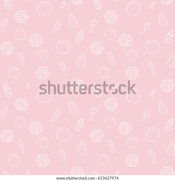 Seamless Vector Baby Pregnancy Pattern Pink Stock Vector Royalty Free 653627974