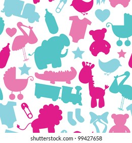 Seamless Vector Baby Shower Pattern
