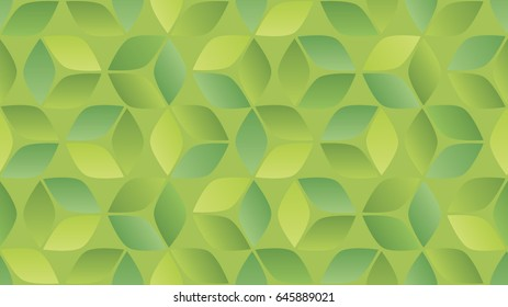 Seamless vector background with 3d cubes or shape pattern. Custom outlined shapes grouped to make dimensional squares. Shades of green gradients together.