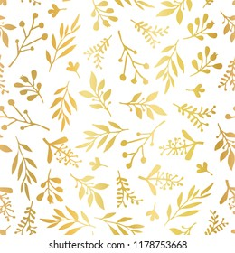 Seamless vector background with abstract gold foil leaves on white. Simple golden leaf texture, endless foliage pattern. Paper, pattern fills, web banner, party, cards, wedding, celebration, invite