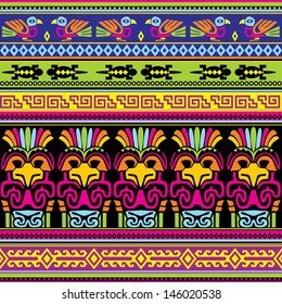seamless vector background with  animals mexican ornament