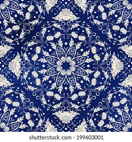 Seamless vector background. Beautiful floral square pattern. Imitation of chinese porcelain painting. Blue watercolor background. Hand drawing.