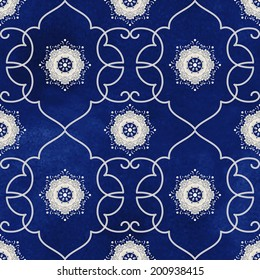 Seamless vector background. Beautiful floral patterns. Imitation of chinese porcelain painting. Blue watercolor background. Hand drawing.