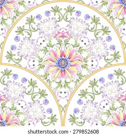 Seamless vector background. Beautiful floral round patterns. Imitation of chinese porcelain painting.  Lotus flowers and leaves are painted by watercolor.