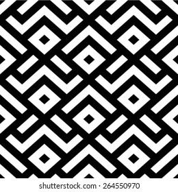 Seamless vector background. Black and white texture. The geometric pattern by stripes, lines, rhombuses.