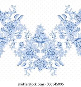 Seamless vector background with border. A bouquet french roses and polka dot backdrop.
