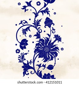 Seamless vector background. Border on watercolor basis and oriental flowers. Imitation of chinese porcelain painting.
