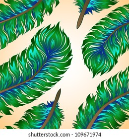 Seamless vector background with colorful feathers