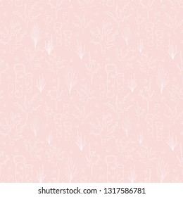 Seamless vector background coral reef subtle pink. Underwater pattern with corals, sea plants, seaweed, sponge, clams, shells. Hand drawn marine doodle backdrop. For fabric, digital paper, web decor.