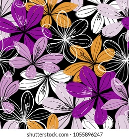 Seamless vector background with crocus flowers