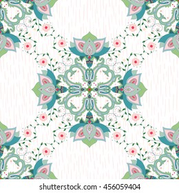 Seamless vector background with cross pattern of indian flowers. Strokes on backdrop. Hand drawing.
