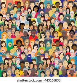 Fondo vectorial sin problemas. Una multitud de personas de diferentes edades, razas y nacionalidades. Hombres, mujeres, abuelos, abuelos, niños y niñas vestidos con ropa de colores