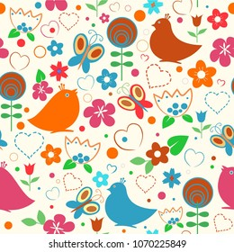 Seamless vector background with cute birds, hearts, plants and flowers. Bay floral pattern in bright colors
