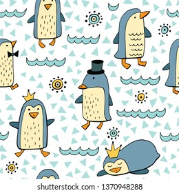 Seamless vector background with cute penguins.