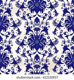 Seamless vector background. Damask floral pattern on watercolor backdrop. Imitation of chinese porcelain painting.