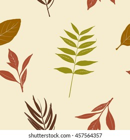 Seamless vector background with decorative branches and leaves. Print. Cloth design, wallpaper in autumn theme. Fall leaves
