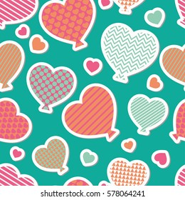 Seamless vector background with decorative hearts. Balloons. Valentine's day. Print. Cloth design, wallpaper.