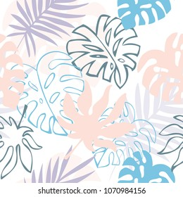 seamless vector background with decorative palm leafs of pink and lilac color