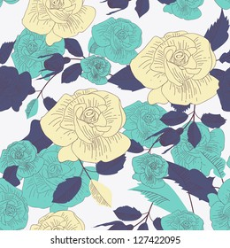 Seamless vector background with drawing roses
