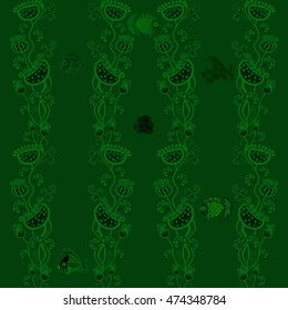 Seamless vector background - fish and plants. Use printed materials, signs, items, websites, maps, posters, postcards, packaging.