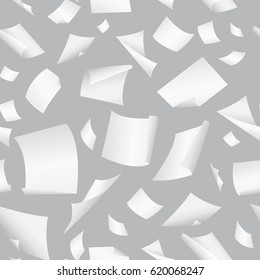 Seamless vector background with flying, falling, scattered office white paper sheets, documents. Background with flight paper, illustration of clear chaotic paper