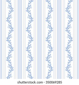 Seamless vector background with french plant pattern in vintage style.