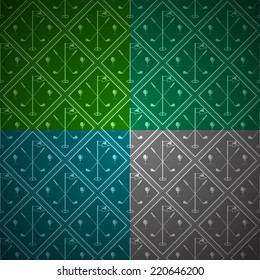 Seamless vector background for golf. Seamless abstract vector pattern with rhombus with silhouette equipment for golf. Four colored parts.