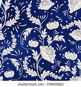 Seamless vector background. Imitation of chinese porcelain painting. Beautiful flowers and blue watercolor background. Hand drawing.