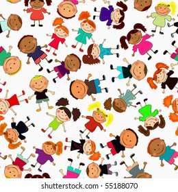 seamless vector background with kids.