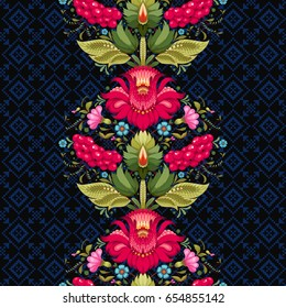 Seamless vector background with line of floral ukrainian pattern in the style of Petrykivka painting. Ornament similar to embroidery on dark backdrop.