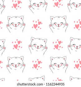 seamless vector background with little happy cat, adorable cute kitten. can be used as a children clothes fabric print design, wrapping paper, surface pattern