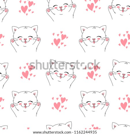 d147237dada Seamless Vector Background Little Happy Cat Vector de stock (libre ...