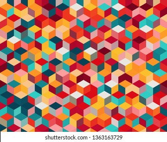 Seamless vector background with multicolored cubes in 3D style. Geometric pattern.