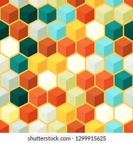 Seamless vector background with multicolored shapes in 3D style. Geometric pattern.