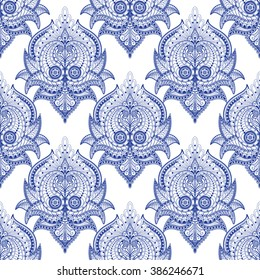 Seamless vector background. Oriental paisley pattern.