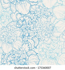 Seamless vector background with pattern of beautiful peonies. Delicate background with pastel colors.