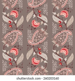 Seamless vector background. Pattern of paisley with leaves and flowers. Curved branch with fantastic flowers and berries. Motives of the paintings of ancient Indian fabrics. Tree of Life collection.